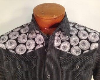 Horror Sci Fi Shirt By Maria B. Vintage Shirt & Eyeballs Fabric. Size Small.