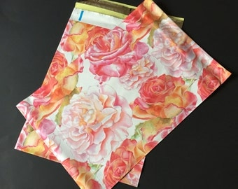 25 Designer Poly Mailers 10x13 Watercolor Blossoms Flowers Envelopes Shipping Bags