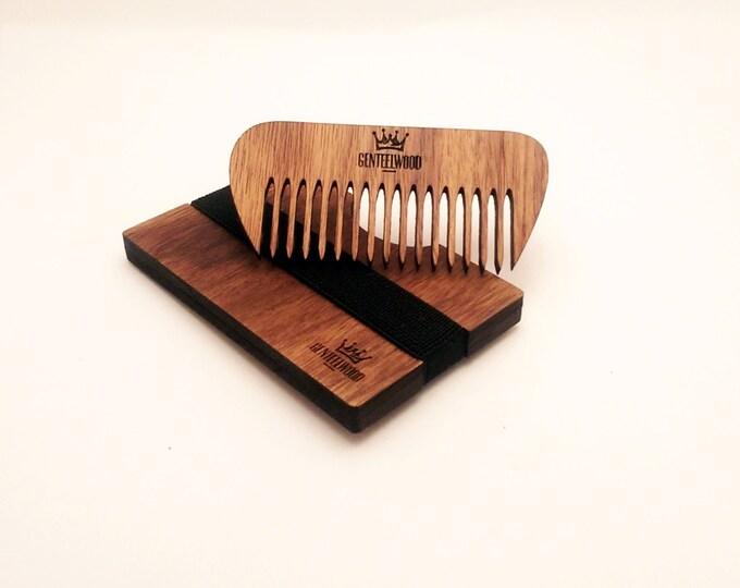Walnut Handmade Wood Wallet - Beard walnu combs - credit card wallet - GenteelWood wallet and combs - Minimalistic wallet - Hair combs gift