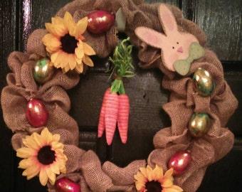 Burlap Easter wreath, Easter wreath, spring wreath, Easter door wreath, Easter Bunny wreath