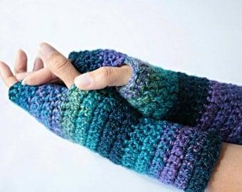 Gloves, wrist warmers, fingerless crochet gloves, arm warmers in blue and purple.