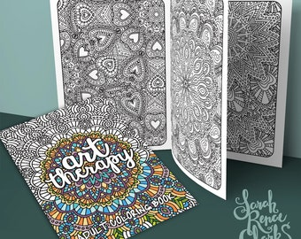 Art Therapy - Printable Adult Coloring Book | Downloadable PDF | 20 coloring pages for adults with bold lines and intricate patterns