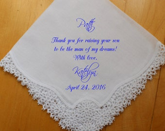 Mother of the Groom Handkerchief, custom PRINTED Wedding Handkerchief, Thank you for raising the Man of My Dreams, Personalized. LS12FCAC