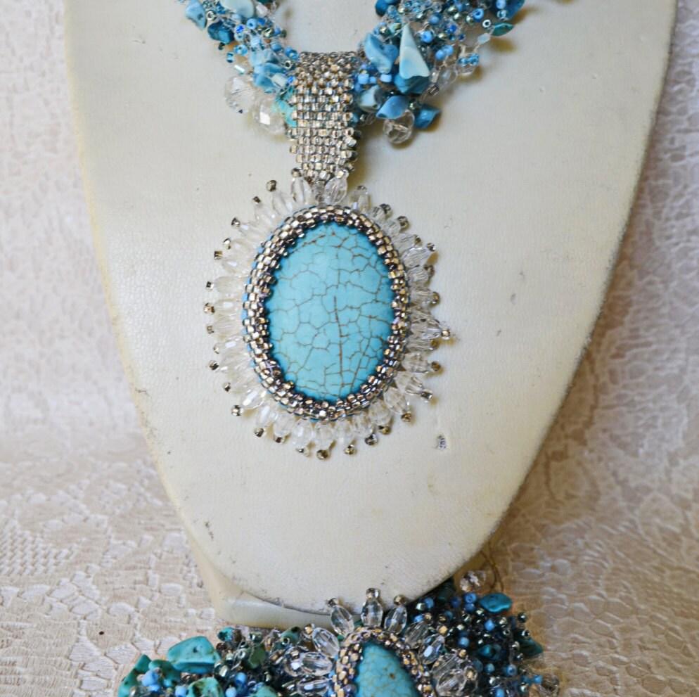 turquoise jewelry statement multi strand beaded pendant. Black Bedroom Furniture Sets. Home Design Ideas