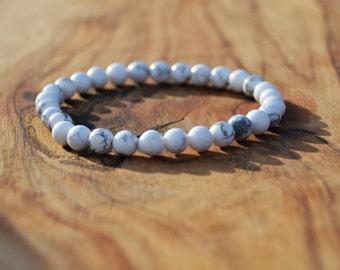 White Howlite - 6mm Semi Precious Stone Bracelet