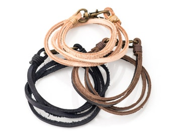 Rugged Leather Wrap Bracelet with Brass Lobster Lock