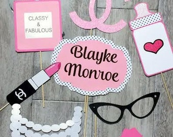 C.C. Fashionista Baby Shower theme Photo booth Props// Party Decor// Paris//baby girl
