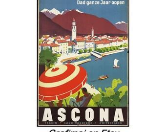Instant Download - Vintage Travel Poster - Ascona Switzerland - Lago Maggiore, Tessin, Alps