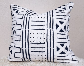 """White African Mudcloth Pillow Cover 19x19"""""""