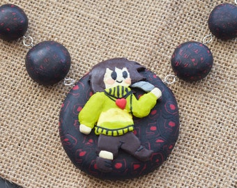 Undertale Polymer Clay Necklace – Undertale Chara – Polymer Clay Necklace – Handmade Beaded Necklace – Game Jewellery