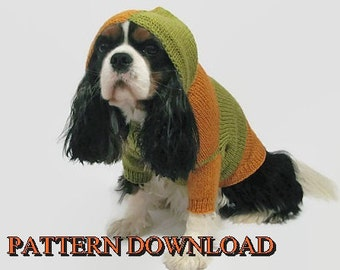 Dog hoodie pattern Dog sweater pattern Dog hoodie Dog sweater Knit dog sweater Dog knit sweater Knitting pattern Cavalier PDF pattern