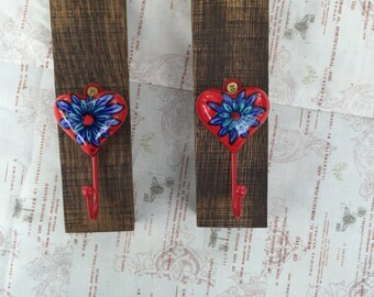 Coat Rack w/ Red Heart and Blue Inlay.  Made from a Local Virginia Red Wine Barrel (Stave). Makes a Great Key or Jewellry Holder as well!