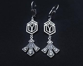 Art Deco earrings Silver Art deco jewelry Vintage earrings TITANIUM earrings Hypoallergenic earrings Vintage jewelry Victorian earrings