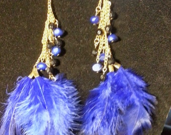 Royal blue and gold feather earrings