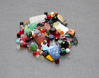 Bead Soup Mix, 100g Beads Variety, Mulicolour Czech Glass Beads, Seed, Bugle, Round, Rectangular, Many Shapes Colours, DIY Kits