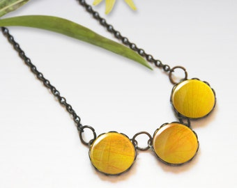 Summer necklace, Yellow necklace, Chunky bib necklace, Glass dome necklace, Trio necklace, Boho jewelry for women, Gift idea, 5089-5