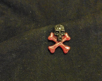 Black and Red Skull and Crossbones Resin Pin Badge - 0118