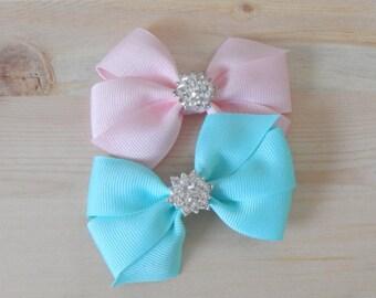 Pink Rhinestone bow, Mint Rhinestone Bow, Rihinestone Ribbon Bow, Pink Bow Girl, Mint Bow Girl, Baby Hair Clip, Hair Accessories