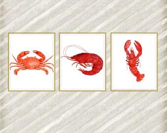 """Beach animals prints: """"SEA ANIMALS PRINTS"""" Nautical prints Watercolor animals Crab Lobster Shrimps Restaurant Decor Nautical prints set of 3"""