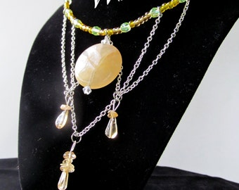 Natural Crystal Choker Necklace (Yellow)