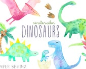Watercolor Dinosaur Clipart | Girly Dinosaur Clip Art - Dinosaur Birthday Party - Girls Dinosaurs - T Rex, Pterodactyl - Digital PNG Files