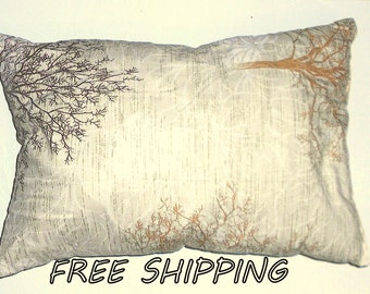 pillow, decorative pillow trees forest