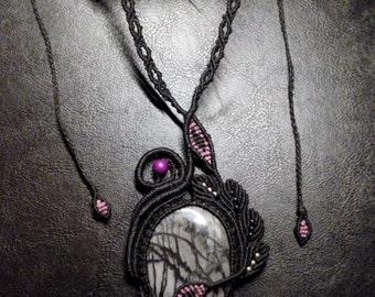 Unique handmade macramé necklace with Picasso Jasper