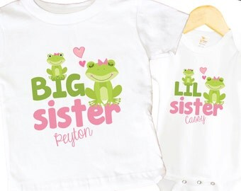 Big Sister Frogs Shirt SET Little Sister Froggy Sibling Personalized Big Sister Big Brother Shirts bodysuit SET