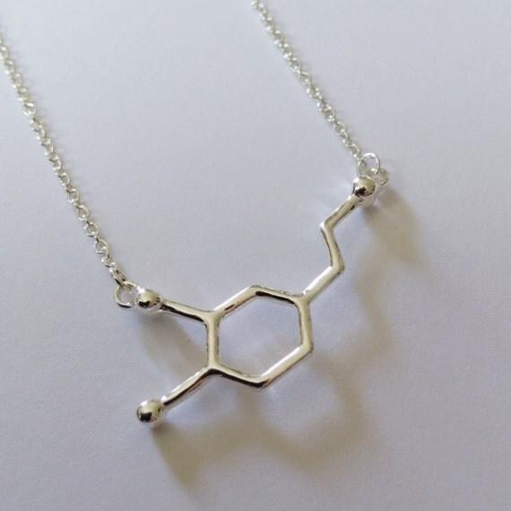 Silver Dopamine Molecule Necklace Delicate By