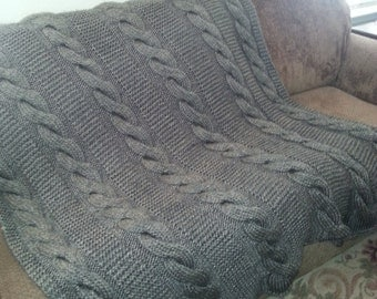 Handmade knitted Cable Throw