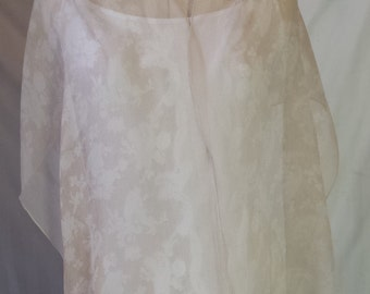 Delicate, floral, lace pattern silk scarf in ivory - ideal for a wedding