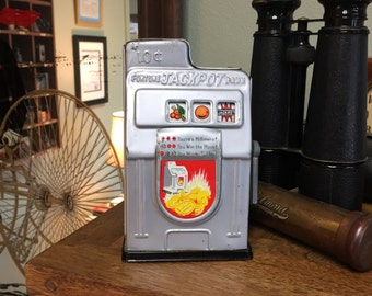 Jackpot Slot Machine Coin Bank - Vintage Tin Bank - Made in Japan