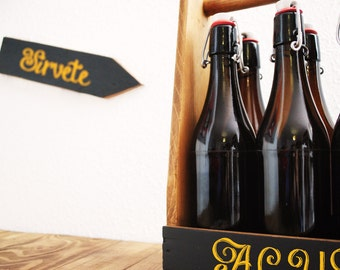 Old bottle rack with slate