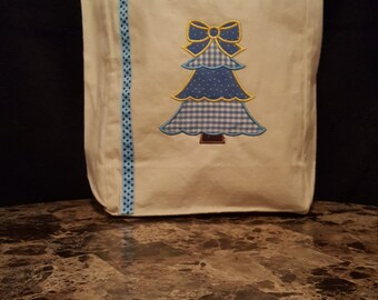Blue Christmas Tree Gift/Tote Bag