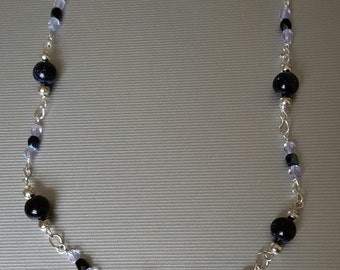 Blue goldstone feather necklace
