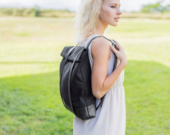 Black Canvas Backpack - Black Backpack - Rucksack - Cute Backpack - Fashion Backpack - Minimalist Backpack - Mens Backpack - Girls Backpack