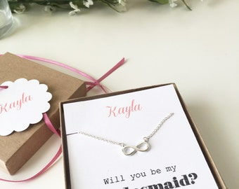 Infinity Necklace, Bridesmaid Gift, Bridedsmaid Necklace, Bridesmaid Jewelry, Will you be my bridesmaid
