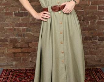 Vintage 90s Maxi Dress Khaki Shirt Day Summer Dress Debenhams Safari Style Button up Size 12