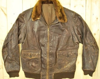 Vintage 1960's Brown G1 Leather Flight Jacket / Retro Collectable Rare