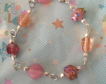 "Sparkly glass beaded bracelet, 8"""