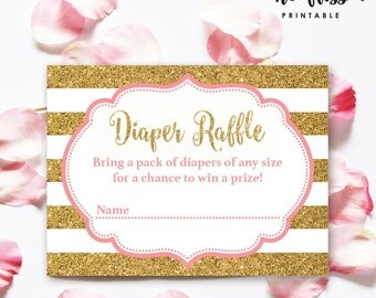 Pink and Gold Diaper Raffle Tickets | Diaper Game | Baby Diaper Shower Party | Printable Card | Instant Download