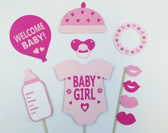 Photo Booth Girl Baby Shower Props / Girl Babyshower Photo Props / FULLY ASSEMBLED / 10 pc
