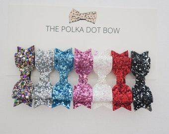 BUILD YOUR OWN - Mini Bow, Glitter Hair Clip Set, Hair Clips, Baby Hair Clips, Glitter Bows, Mini Bows