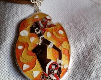 silver jewelry,sterling silver, hot enamel pendant