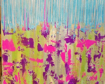 "FREE SHIPPING on Original Acrylic Abstract Knife Painting with Cheerfully Bright colors titled  ""Blue Skies & Raspberry Puddles""."