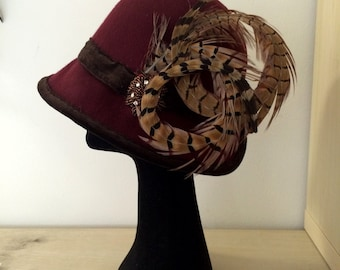 Theatrical Flapper Cloche Hat Aged Look