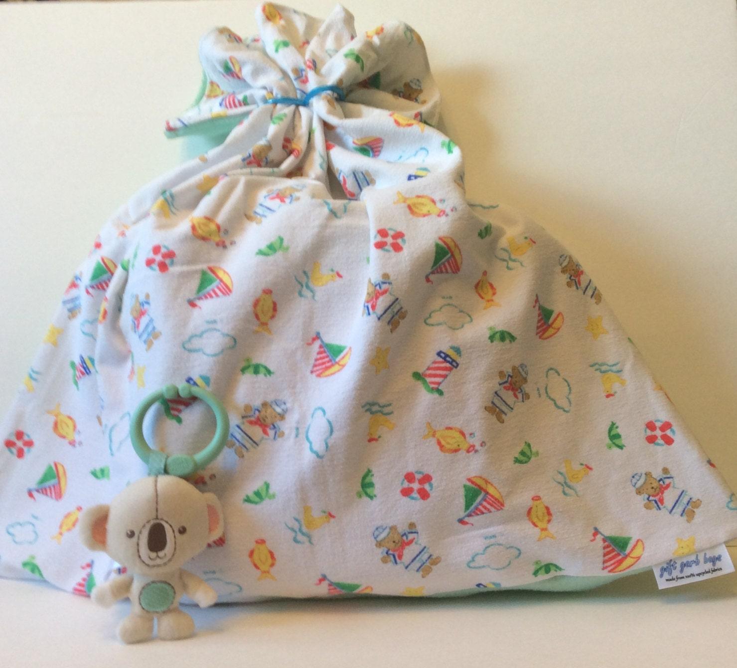 Baby Gift Sack : Baby gift bag flannel sailor theme boy