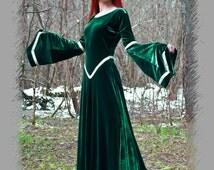 Fantasy dress (green dress, medieval dress, renaissance dress, elven dress, LARP dress, woodland fairy dress)
