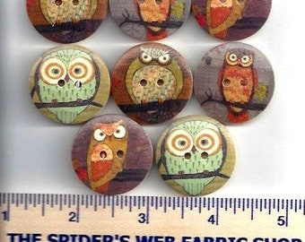 Wooden OWL BUTTONS ROUND -  Wood Buttons  - 2 Hole Flat (no shank) - Sew Through - Painted