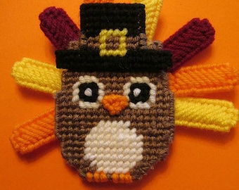Owl Plastic Canvas Pattern - Thanksgiving Pilgrim Turkey Magnet PDF File Instant Download